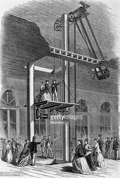 1867Miller's patent screw hoisting machine Driven by steam whisked passengers to the second floor with breathless ease Woodcut 1867