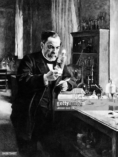 1822 1895Chemiker und Mikrobiologe FrankreichGemälde von AG Edelfeldtim Labor
