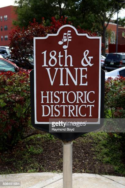 '18th and Vine' signage in the jazz music and historic hub downtown in Kansas City Missouri on August 12 2017