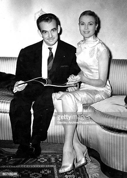18th April 1956 Grace Kelly and Prince Rainier at their wedding at Monaco
