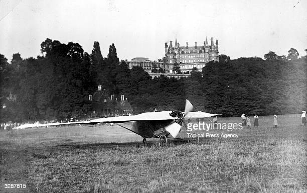 The Bellamy aeroplane at full throttle trying to fly during its trials at Petersham Meadows Weybridge
