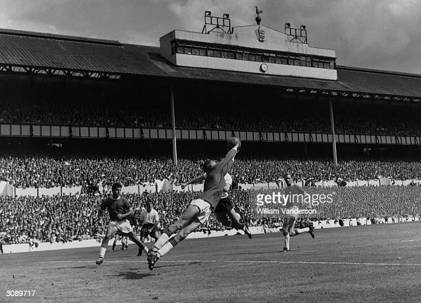 Birmingham City goalkeeper Jimmy Schofield making a save duringa game against Tottenham Hotspur