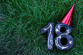 18th Birthday Concept - numbers on grass