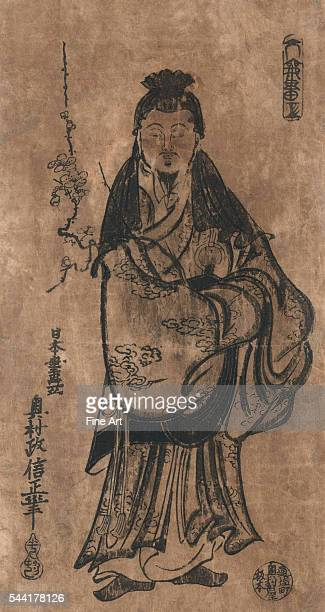 18th century Ukiyoe woodcut print Fulllength depiction of Sugawara Michizana a nobleman who became the deity Kitano Tenjin