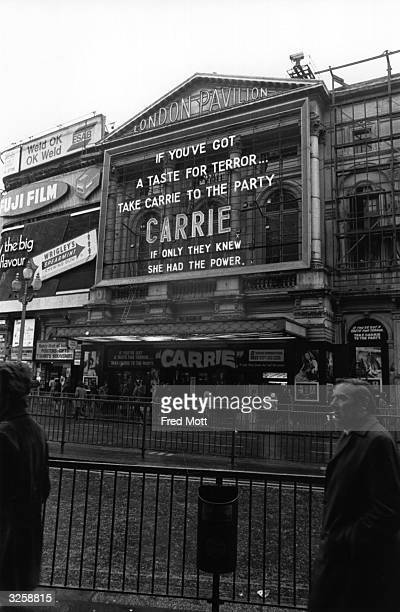 The London Pavilion Cinema at Piccadilly Circus London where Brian de Palma's film 'Carrie' is showing