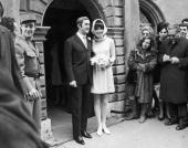18th January 1969 Belgian actor Audrey Hepburn and her new husband Andrea Dotti leave the Town Hall after the civil ceremony at Moreges