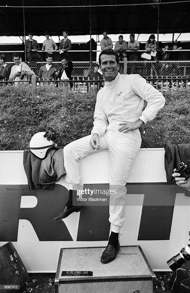 American actor James Garner filming John Frankenheimer's racing drama 'Grand Prix' at Brands Hatch