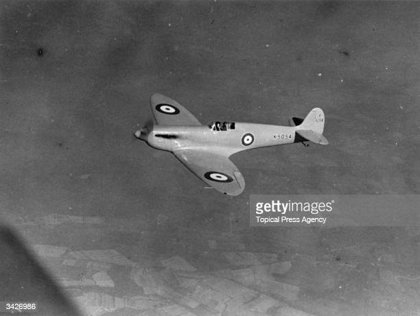 Aircraft K5054 the prototype for Spitfire fighter planes designed by Reginald Mitchell during a demonstration flight at Eastleigh