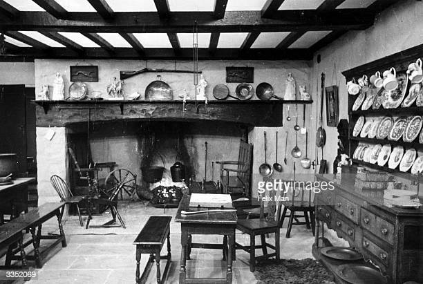 A reconstruction of a typical Welsh farmhouse kitchen at the National Museum of Wales in Cardiff Original Publication Picture Post 104 Cardiff pub...