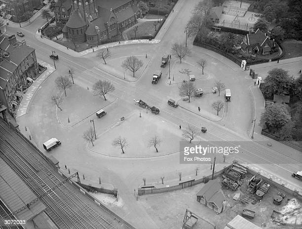 A view from the top of the 320 ft high Battersea gasometer showing Queens Road the 'circus' and entrance to Battersea Park