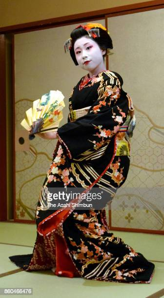 18yearold Makoto performs dance at her debut as Maiko apprentice of Geiko at ryotei traditional Japanese restaurant 'Kamome' on October 11 2017 in...