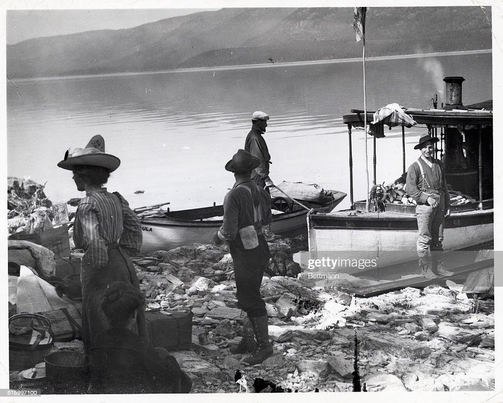 1903Flathead Lake MTGroup ready for an outing on Osprey Island on Flathead Lake Montana