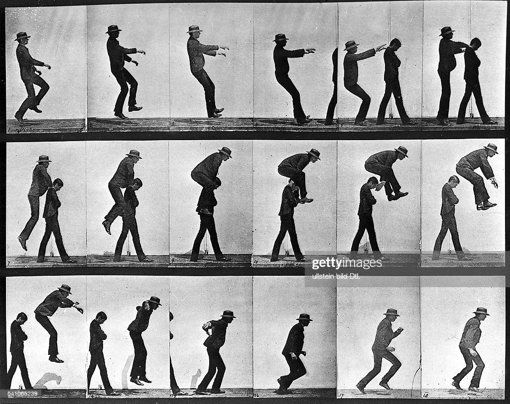 1830 - 1904Fotograf, England- Bewegungsstudie Zwei Männer beim Bockspringen