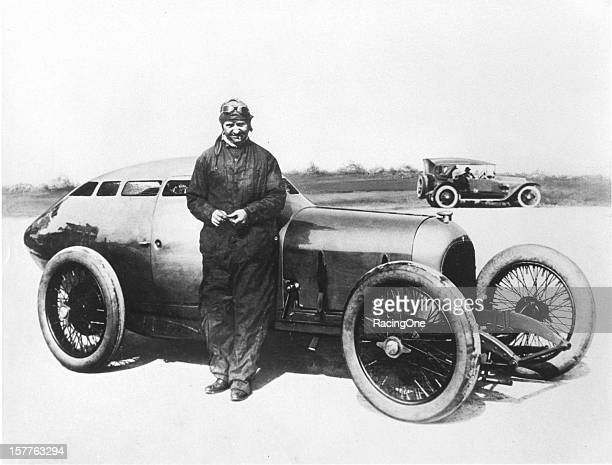 Barney Oldfield with the Golden Submarine streamlined race car designed and built in 1917 by Fred Offenhauser and Harry Miller Oldfield worked with...