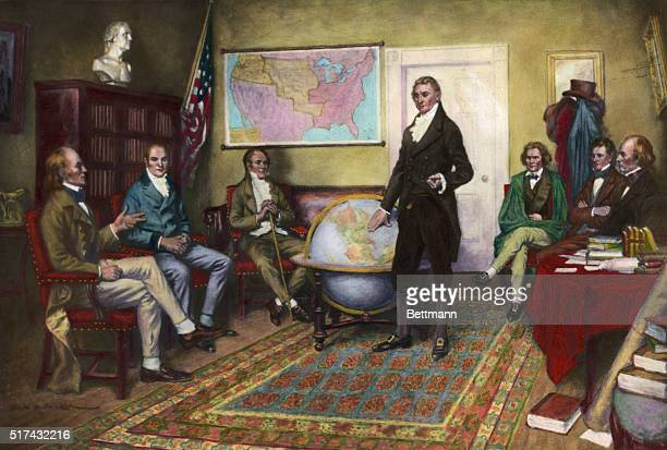 1912Painting by Clyde De Land of the birth of the Monroe Doctrine John Irving Adams William Harris Crawford William Wirt President James Monroe John...