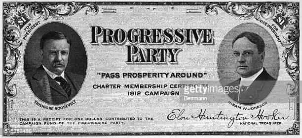 1912Theodore RooseveltHiram W Johnson Progressive Party certificate Photograph 1912