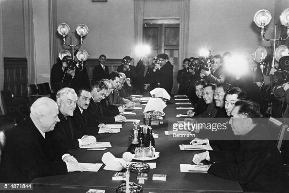 1/9/1957Moscow Russia Soviet and Communist Chinese leaders sit around conference table at the opening session of the RussianChinese talks at the...