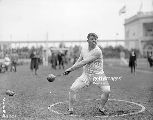 1920Antwerp Belgium Picture shows Pat Ryan of the US in action during the Hammer throw at the Olympics