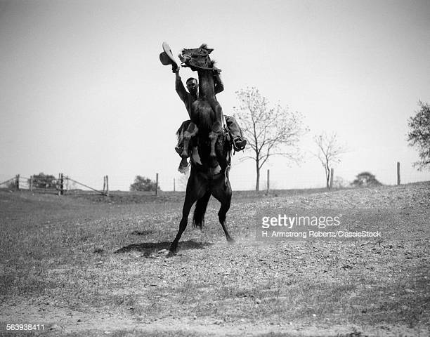 1920s MAN COWBOY WAVING...