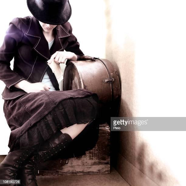 1920 er Jahren Frau mit Gepäck und Tickets
