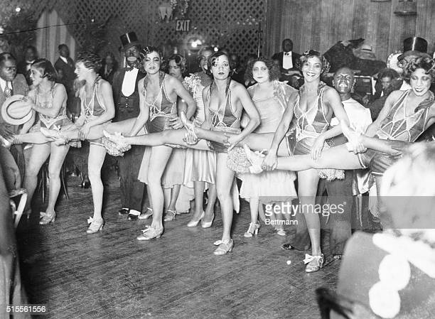 Picture shows women entertainers dancing in a line at Small's Paradise Club in Harlem