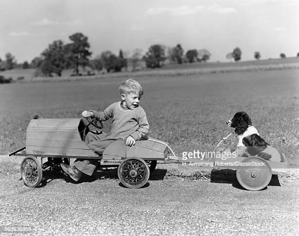 1930s 1940s BOY IN WOODEN...