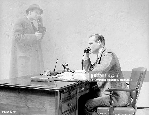 1930s 1940s BUSINESSMAN AT...