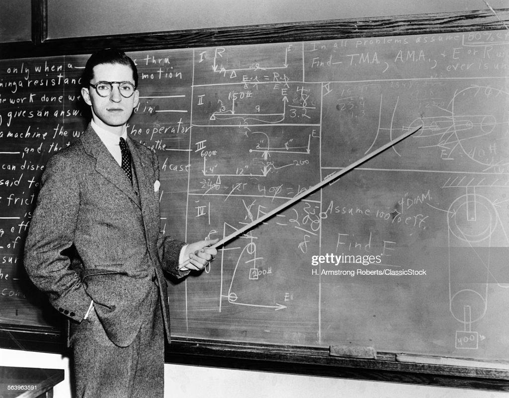 1930s 1940s MAN TEACHER... : Stock Photo