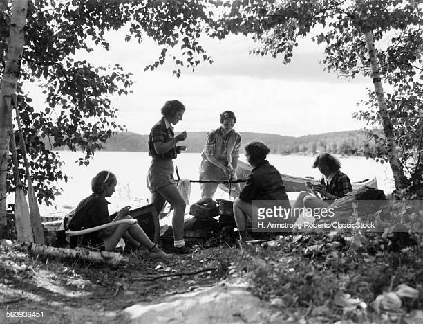 1930s 5 GIRLS AROUND CAMP...