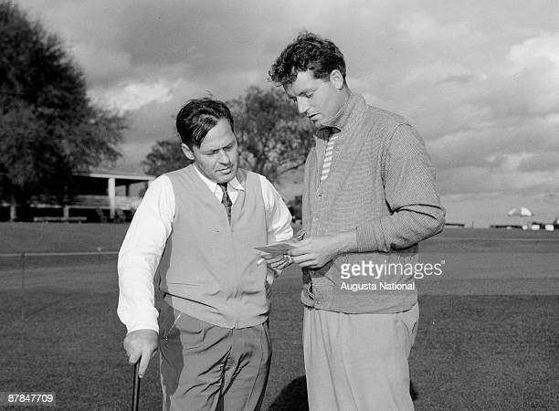 Bobby Jones talks with an unidentified man during a 1930s Masters Tournament at Augusta National Golf Club in April in Augusta Georgia