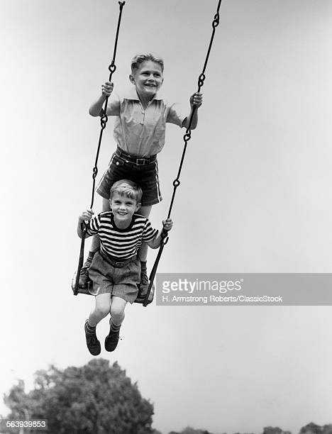 1930s TWO SMILING BOYS...