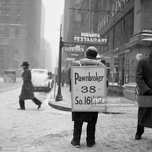 1930s WINTER STREET SCENE...