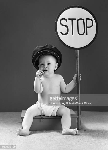 1940s BABY BOY HOLDING...
