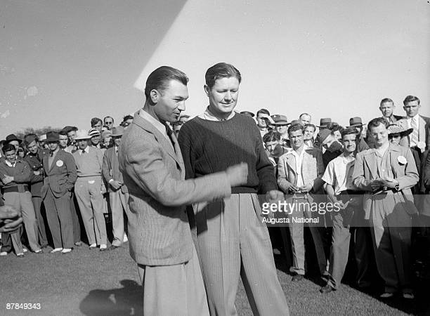 Ben Hogan and Byron Nelson stand together during a 1940s Masters Tournament at Augusta National Golf Club in April in Augusta Georgia