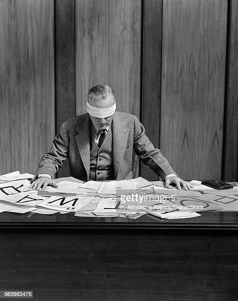 1940s BLINDFOLDED MAN IN...