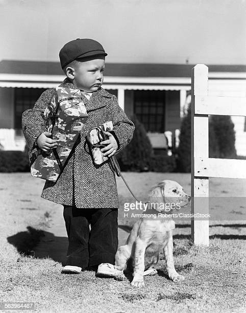 1940s BOY WITH PUPPY ON...
