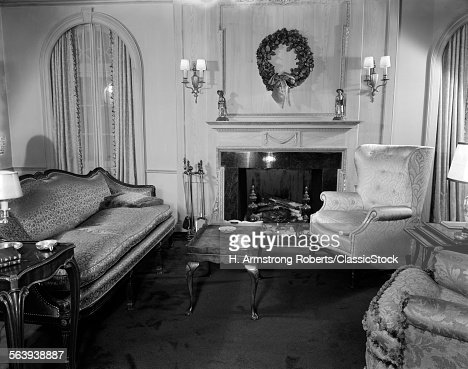 Living Room 1940s 1940s living room sitting room stock photo | getty images