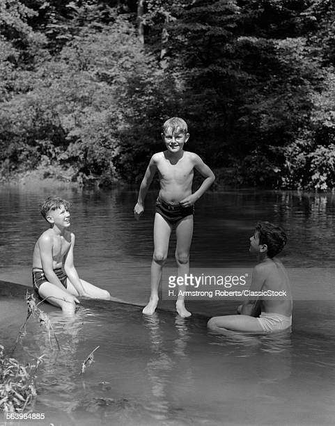 1940s THREE BOYS OUTDOOR...