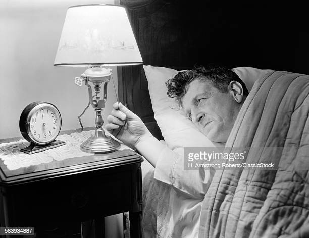 1940s TIRED MAN IN BED...