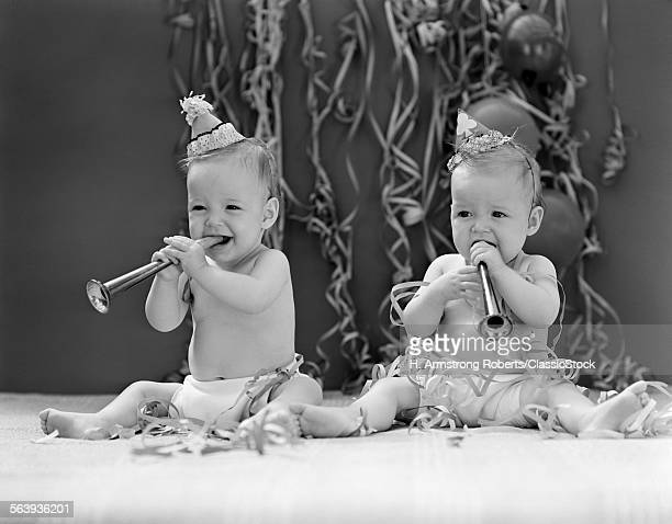 1940s TWIN BABIES WITH...