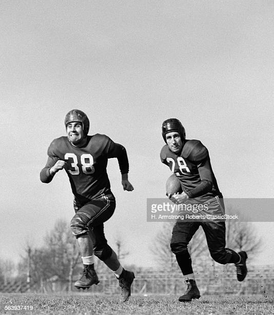 1940s TWO FOOTBALL PLAYER...