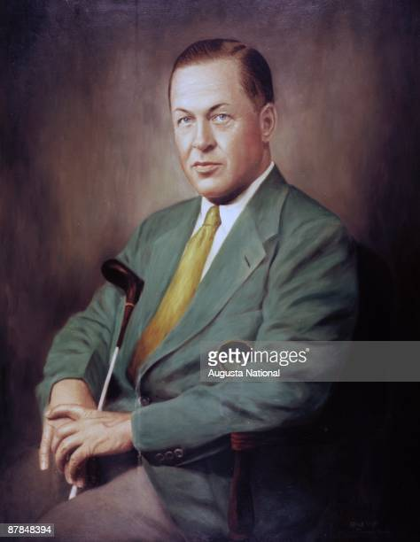 View of portrait of Bobby Jones in oil paint at the Augusta National Golf Club in April of the 1940s in Augusta Georgia
