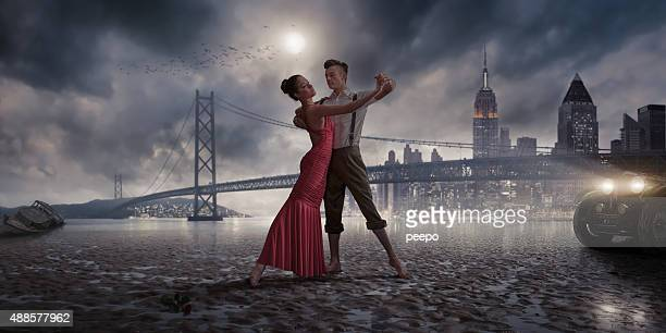 1940s Vintage Dancers on a Moonlit Beach Near City Lights