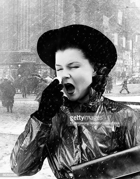 1940s WOMAN SNEEZING...