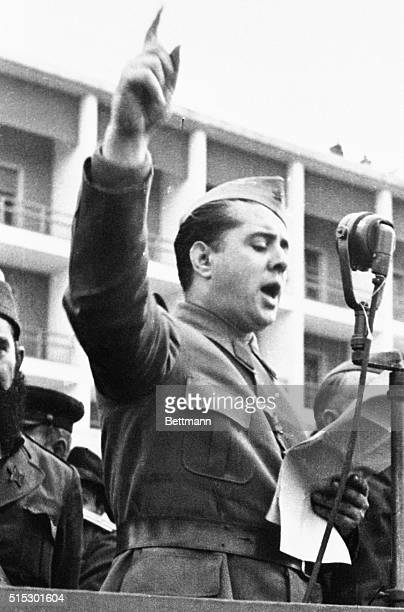 1945Albania Gen Enver Hoxha shown addressing a rally On July 24 Hoxha Albania's Red dictator hatchetman was stripped of some of his powers An...