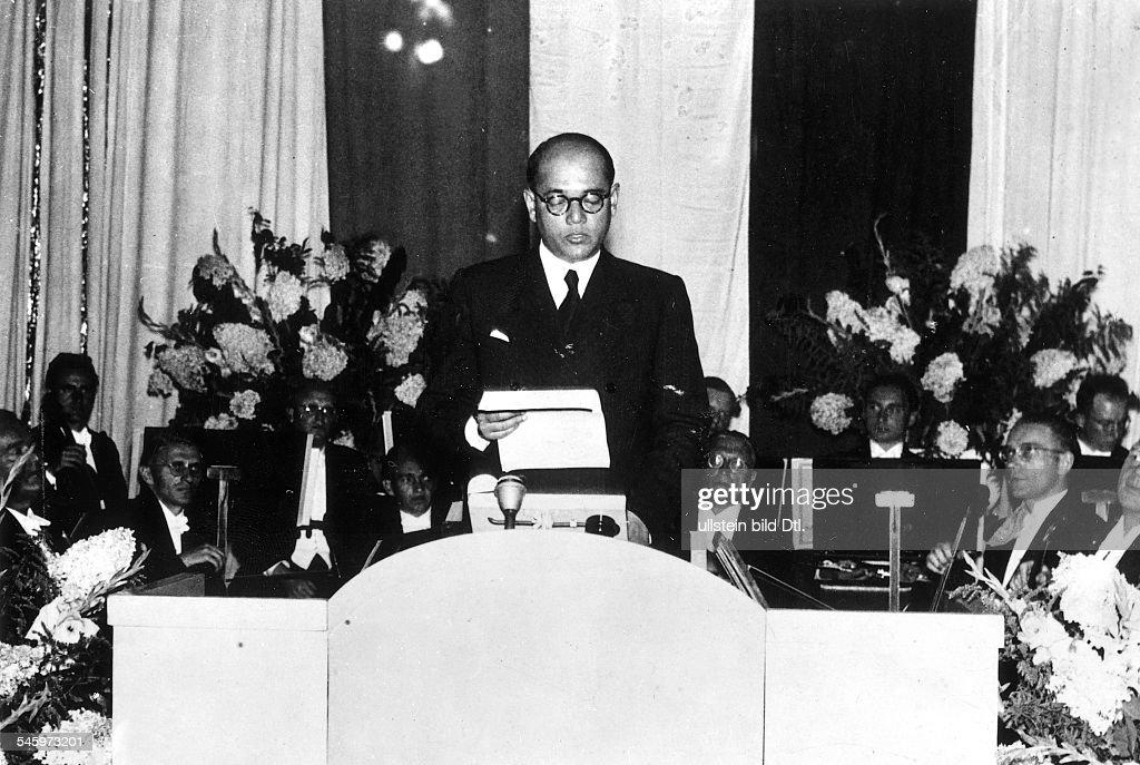 1897 - 1945Politiker, IndienVorsitzender der KongressparteiFührer der 'Provisorischen IndischenNationalpartei' 1943-45- Gründung der deutsch-indischenGesellschaft in Hamburg unter Teilnahmevon S.T.Bose.Bose bei seiner Ansprache.