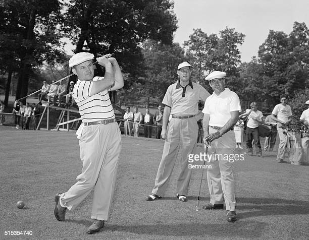 1949Chicago Illinois Charles Kocsis of Royal Oak Michigan tees off at the first hole as the 49th annual open championship golf tournament begins at...