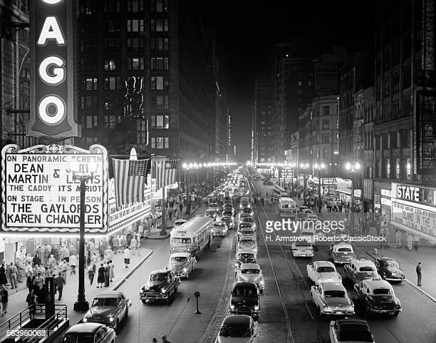 1950s 1953 NIGHT SCENE OF...