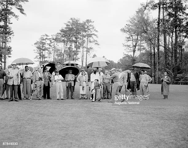 A general view of course action during a 1950s Masters Tournament at Augusta National Golf Club in April in Augusta Georgia