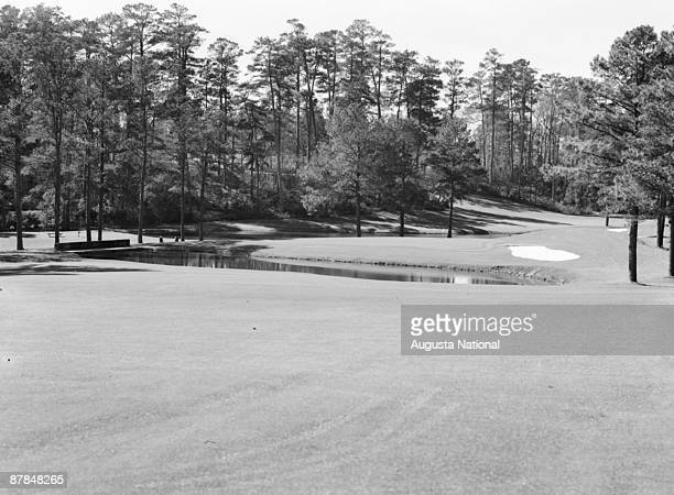 A general view of the 15th hole during the 1950s at Augusta National Golf Club in April in Augusta Georgia